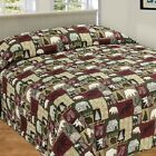 CABIN PATCHWORK QUILTED BEDSPREAD BEAR MOOSE TREES QUEEN FULL CAMPING MAN CAVE