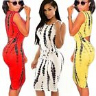 Sexy  Women Crew Neck Printed Cut Out Backless Bodycon Sheath Casual Club Dress