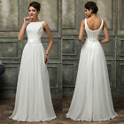 UK Chiffon Lace White Long Prom Wedding Party Prom Evening Bridesmaid Gown Dress
