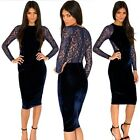 Dark Blue Floral Lace Velvet Hip-wrapped Womens Cocktail Party Pencil Dress Chic
