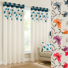 LILY EYELET FULLY LINED CURTAINS – FLORAL PATTERN – MATCHING CUSHION COVERS