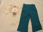 MINIWEAR Baby Girls 6-9 Month Bodysuit Sprockets Stripe Pant Outfit NWT