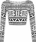 New Womens Monochrome Aztec Print Long Sleeve Short Stretch Ladies Crop Top 8-14