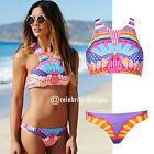 sw66 Women's Sporty High Neck Push Up Bikini Set Swimwear Swimsuit Padded Aztec