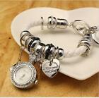 Womens Leather Quartz Charm Wrist Watch Ladies Bracelet Heart Pendant NEW