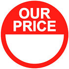 Blank Red Our Price Point Stickers Sticky Labels 20mm 25mm 30mm 35mm 45mm
