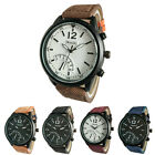 C8 US Mens Fashion Casual Watch PU Leather Round Dial Stainless Steel Case