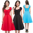 50s 40S Vintage Ladies Swing Pinup Casual Summer Cocktail Dress XS-XL