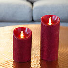 Small/Large Mirage Red Glitter Battery Operated Flickering LED Xmas Wax Candle