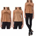 Womens Party Sleeveless Backless Faux Suede 70s Retro Blouse Halter Crop Top