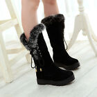 Womens Warm Snow Boots Low Heels Pull On Mid Calf Lace Up Fur Trim Ankle Boots