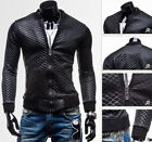 New Fashion Men's Slim Fit Stand Collar PU Leather Jacket Coats Outwear Blazers