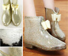 Women Glitter Bows Jelly Wedge College Ankle Knot Snow Rain Boots