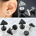 Womens Mens Triangle Stainless Steel Ear Cartilage Helix Studs Barbell Earring
