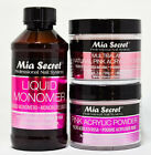 MIA SECRET LIQUID MONOMER 4oz& 2/3/4 ACRYLIC PWDER (Pink,Multi, White&Clear)