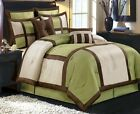 12pc MODERN Sage Green Brown Block BEDDING Comforter BED in a BAG SET and Sheets