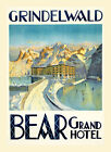Grindelwald Canton of Bern in Switzerland Bear Vintage Poster Repro FREE S/H