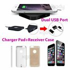 NEW Q8 QI Wireless Charging Pad Dual USB Charger Port for Apple iPhone 6/6S Plus