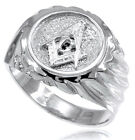 10k Solid White Gold Masonic Men's Ring