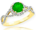 Gold Emerald  Birthstone Infinity Ring with Diamonds Enga...