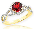 Gold Ruby Birthstone Infinity Ring with Diamonds Engageme...
