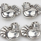 10/20Pcs Crafts Chicken Shape Tibet Silver Pendant Jewelry Findings DIY 12x12MM