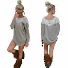 Women Fashion Long Sleeve Lace Blouse Loose T Shirt Sweater Tops Pullover Top