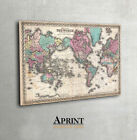 Vintage map of the world on Canvas print - LARGE - ready to hang on the wall