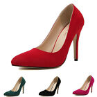 Womens Suede Pointed Toes Slim High Heels Shoes Dress Formal Stilettos Pumps