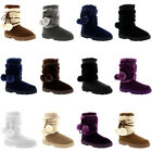 Womens Pom Pom Short Winter Fur Lined Snow Winter Rain Warm Shoe Boots UK 3-10