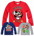 Boys Nintendo Super Mario Bros TShirt New Kids Long Sleeved Tops Ages 4-10 Years