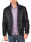 JK308 New mens leather jacket motorcycle black genuine coat size xs s m l xl 2xl