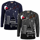 Christmas Jumper Santa & Rudolph Over London Big Ben St Paul's Night Sky Sweater