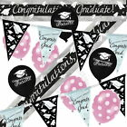 Graduation Banners,Bunting, Black, Pink Spotty Balloons, Party Decorations Pack