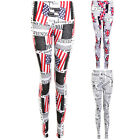 Womens USA America Britain British UK Novelty Newspaper Party Stretch Leggings