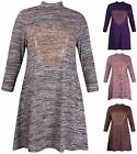 Womens Plus Size Space Dye Sequin Heart Ladies Long Sleeve Flare Swing Dress Top