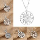 Charm Women Hollow Sun Heart Round White Gold Plated Necklace Pendant Chain Gift