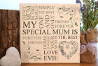 handmade wooden personalised mother mum typography plaque sign gift present chic