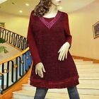 BURGUNDY FRINGE LACE LONG SLEEVE DRESS/TUNIC TOP #1797 SIZE M L XL