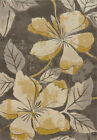 Grey Contemporary Carpet Floral Petals Stems Leaves Vines Synthetics Area Rug