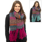 Ladies Multi-Colour Stripe Knitted Scarf With Long Fringes Warm Winter Accessory