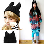 Fashion Women Warm Winter Cat Ear Shape Knitted Hat Elastic Beanie Cap
