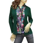 GREEN/MULTI COLOR RUFFLE FLORAL BLOUSE TOP SHIRT 3150 SIZE L XL XXL
