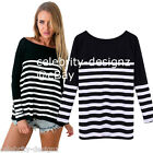 tp171 Celebrity Fashion Lookbook Slouchy Loose-fit Striped Cotton T-shirt Top