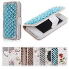 Crystal Bling Diamond White Wallet Leather Hard Case Cover Skin for iPhone 4 4S