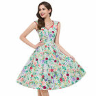 XMAS FLOWER Vintage Retro Swing 50's 60's pinup Housewife Prom Dress