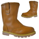MENS SAFETY RIGGER WORK BOOTS FUR LINED PULL ON STEEL TOE CAP LEATHER SHOES SIZE