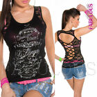 Sexy Women's Low Cut Lace Top Tattoo Style Shirt Party Clubbing Size 10 12 M L