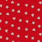 HEARTS & STARS - RED by MAKOWER 100% COTTON CHRISTMAS FABRIC VINTAGE quilting