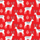 WHITE REINDEER ON RED WINTER WONDERLAND DASHWOOD 100% COTTON CHRISTMAS FABRIC